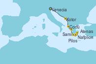 Visitando Venecia (Italia), Kotor (Montenegro), Corfú (Grecia), Sami (Cefalonia/Grecia), Pilos (Grecia), Nafplion (Grecia), Atenas (Grecia)