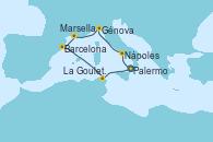Visitando Palermo (Italia), Nápoles (Italia), Génova (Italia), Marsella (Francia), Barcelona, La Goulette (Tunez), Palermo (Italia)