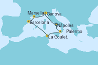 Visitando Nápoles (Italia), Génova (Italia), Marsella (Francia), Barcelona, La Goulette (Tunez), Palermo (Italia), Nápoles (Italia)