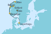 Visitando Oslo (Noruega), Eidfjord (Hardangerfjord/Noruega), Stavanger (Noruega), Olden (Noruega), Bergen (Noruega), Copenhague (Dinamarca)