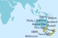 Visitando Auckland (Nueva Zelanda), Russell (Nueva Zelanda), Tauranga (Nueva Zelanda), Gisborne (Nueva Zelanda), Akaroa (Nueva Zelanda), Port Chalmers (Nueva Zelanda), OBAN (HALFMOON BAY), Milfjord Sound (Nueva Zelanda), Melbourne (Australia), Phillip Island, Eden (Nueva Gales), Sydney (Australia)