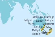 Visitando Auckland (Nueva Zelanda), Tauranga (Nueva Zelanda), Nelson (Nueva Zelanda), Wellington (Nueva Zelanda), Akaroa (Nueva Zelanda), Port Chalmers (Nueva Zelanda), OBAN (HALFMOON BAY), Milfjord Sound (Nueva Zelanda), Melbourne (Australia), Phillip Island, Eden (Nueva Gales), Sydney (Australia)