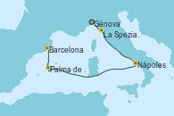 Visitando Génova (Italia), La Spezia, Florencia y Pisa (Italia), Nápoles (Italia), Palma de Mallorca (España), Barcelona