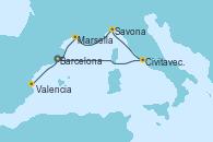 Visitando Barcelona, Civitavecchia (Roma), Savona (Italia), Marsella (Francia), Barcelona, Valencia