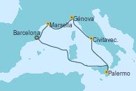 Visitando Barcelona, Palermo (Italia), Civitavecchia (Roma), Génova (Italia), Marsella (Francia), Barcelona