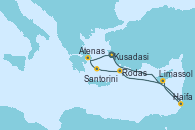 Visitando Kusadasi (Efeso/Turquía), Haifa (Israel), Limassol (Chipre), Rodas (Grecia), Santorini (Grecia), Atenas (Grecia), Kusadasi (Efeso/Turquía)