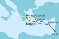 Visitando Haifa (Israel), Limassol (Chipre), Rodas (Grecia), Santorini (Grecia), Atenas (Grecia), Kusadasi (Efeso/Turquía), Haifa (Israel)