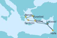 Visitando Limassol (Chipre), Rodas (Grecia), Santorini (Grecia), Atenas (Grecia), Kusadasi (Efeso/Turquía), Haifa (Israel), Limassol (Chipre)