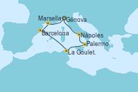 Visitando Génova (Italia), Marsella (Francia), Barcelona, La Goulette (Tunez), Palermo (Italia), Nápoles (Italia), Génova (Italia)