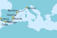 Visitando Málaga, Cádiz (España), Lisboa (Portugal), Alicante (España), Valencia, Barcelona, Génova (Italia)