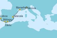 Visitando Génova (Italia), Marsella (Francia), Málaga, Cádiz (España), Lisboa (Portugal), Valencia