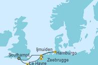 Visitando Southampton (Inglaterra), Le Havre (Francia), Zeebrugge (Bruselas), Ijmuiden (Ámsterdam), Hamburgo (Alemania), Southampton (Inglaterra)