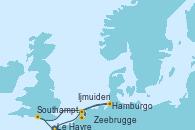 Visitando Le Havre (Francia), Zeebrugge (Bruselas), Ijmuiden (Ámsterdam), Hamburgo (Alemania), Southampton (Inglaterra), Le Havre (Francia)