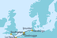 Visitando Zeebrugge (Bruselas), Ijmuiden (Ámsterdam), Hamburgo (Alemania), Southampton (Inglaterra), Le Havre (Francia), Zeebrugge (Bruselas)