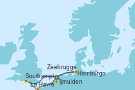 Visitando Ijmuiden (Ámsterdam), Hamburgo (Alemania), Southampton (Inglaterra), Le Havre (Francia), Zeebrugge (Bruselas), Ijmuiden (Ámsterdam)