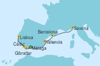 Visitando Málaga, Cádiz (España), Lisboa (Portugal), Gibraltar (Inglaterra), Valencia, Barcelona, Savona (Italia)