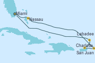 Visitando Miami (Florida/EEUU), Nassau (Bahamas), Charlotte Amalie (St. Thomas), San Juan (Puerto Rico), Labadee (Haiti), Miami (Florida/EEUU)