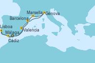 Visitando Málaga, Cádiz (España), Lisboa (Portugal), Valencia, Barcelona, Génova (Italia), Marsella (Francia), Málaga