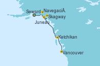 Visitando Seward (Alaska), Navegación por Glaciar Hubbard (Alaska), Skagway (Alaska), Juneau (Alaska), Ketchikan (Alaska), Vancouver (Canadá)