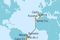 Visitando Río de Janeiro (Brasil), Cabo Frío (Río de Janeiro), Salvador de Bahía (Brasil), Maceió (Brasil), Funchal (Madeira), Santa Cruz de Tenerife (España), Cádiz (España), Lisboa (Portugal)
