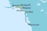 Visitando Vancouver (Canadá), Icy Strait Point (Alaska), Juneau (Alaska), Skagway (Alaska), Navegación por Glaciar Hubbard (Alaska), Seward (Alaska)