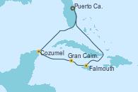 Visitando Puerto Cañaveral (Florida), Cozumel (México), Gran Caimán (Islas Caimán), Falmouth (Jamaica), Puerto Cañaveral (Florida)