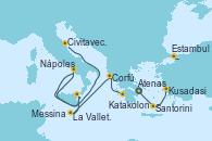 Visitando Atenas (Grecia), Santorini (Grecia), Kusadasi (Efeso/Turquía), Estambul (Turquía), Estambul (Turquía), Katakolon (Olimpia/Grecia), Corfú (Grecia), La Valletta (Malta), Messina (Sicilia), Nápoles (Italia), Civitavecchia (Roma)